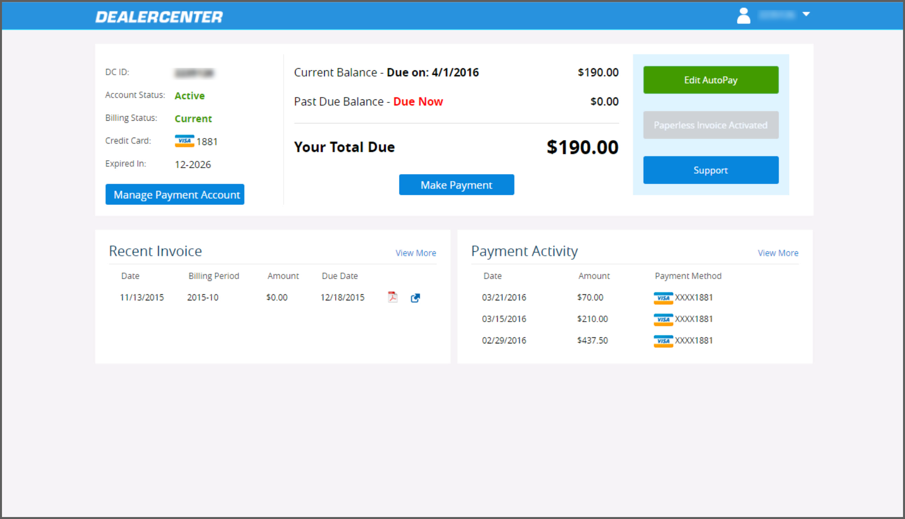 my account page easily manage pay your dealercenter invoice